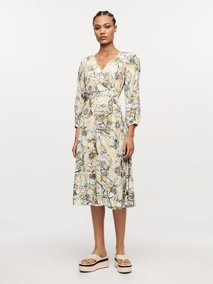 Diane von Furstenberg Evelyn Reversible Crepe Midi Wrap Dress