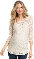 Jessica Simpson Maternity Lace Three-Quarter-Sleeve Top