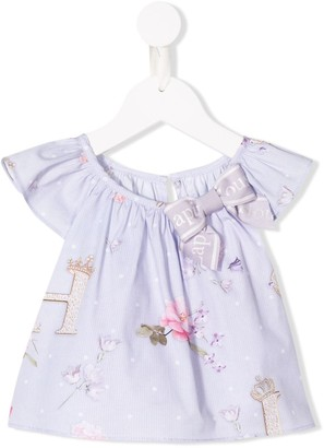 Lapin House Bow-Tie Detail Printed Top