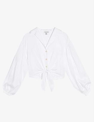 Topshop Tie-front cotton-poplin blouse
