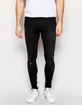 WÅVEN Jeans Royd Extreme Super Skinny Fit Mid Rise Knee Rips Vintage Black