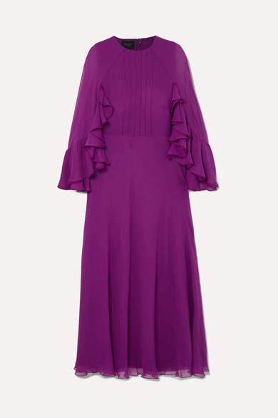 Giambattista Valli Ruffled Silk-georgette Midi Dress - Purple