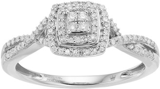 Hallmark Love Found Us Sterling Silver 1/4 Carat T.W. Diamond Square Halo Ring