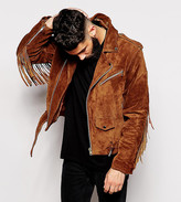Reclaimed Vintage Inspired Suede Biker Jacket In Brown With Fringing