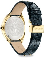 Versace Goldtone Stainless Steel, Diamond & Leather-Strap Watch