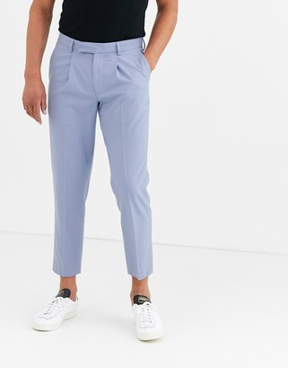 ASOS DESIGN slim cropped smart trousers in blue