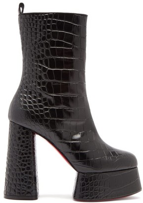 Christian Louboutin Izamayeah Crocodile-effect Leather Platform Boots - Black