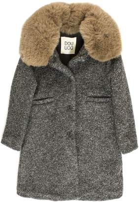 Douuod Grey Wool Blend Faux-fur Collar Coat