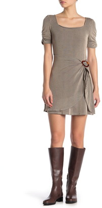 Blu Pepper Square Neck Faux Wrap Ribbed Knit Dress