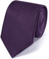 Purple Silk Plain Classic Tie by Charles Tyrwhitt