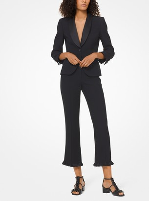Michael Kors Collection Double Crepe-Sable and Satin Ruffle-Hem Trousers
