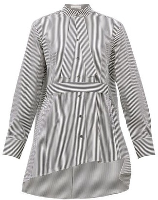 Palmer Harding Palmer//harding - Revan Tie-neck Cotton-poplin Shirt - Womens - Black White