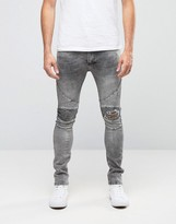 Religion Biker Jeans With Rip Repair Knee Detail In Skinny Fit With Stretch