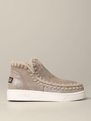 Mou Flat Booties Low-cut Eskimo Sneakers In Lurex Suede
