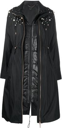 Liu Jo Pearl-Embellished Layered Parka Coat