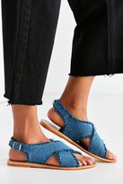 Urban Outfitters Frayed Denim Cross-Strap Sandal