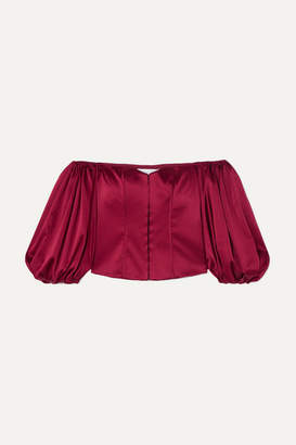 Caroline Constas Belen Off-the-shoulder Silk-blend Satin Top - Burgundy