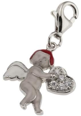 Salé 360240402 XX Unisex Pendant Snap Hook Angel with Varnish and 5 Zirconias 925 Sterling Silver 379240060XX