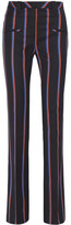 Altuzarra Serge Striped Wool And Cotton-blend Flared Pants - Navy