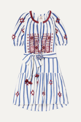 Figue Bria Embellished Embroidered Cotton-voile Mini Dress - Blue