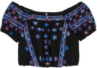Free People Aurura Black Embroidered Top