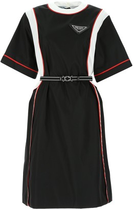 Prada Belted Panel T-Shirt Dress