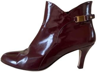 Salvatore Ferragamo Burgundy Patent leather Ankle boots