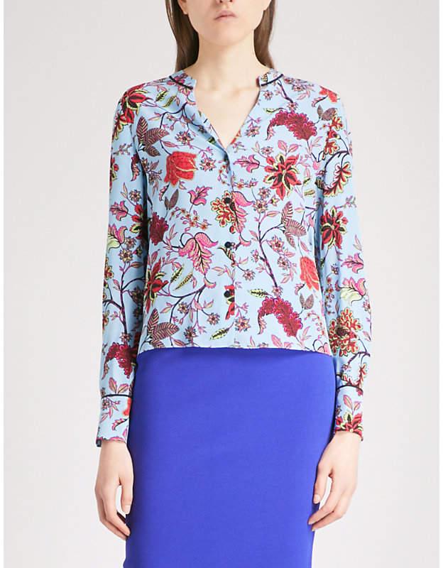 Diane von Furstenberg Canton-print V-neck silk shirt