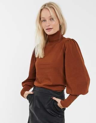Only Julie puff sleeve roll neck jumper-Orange