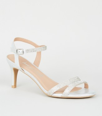 New Look Wide Fit Shimmer Diamante Stiletto Heels