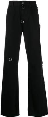 Raf Simons ring detail bootcut jeans