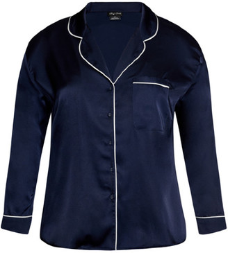 City Chic Pia Pj Top - navy