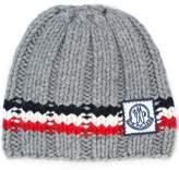 Moncler Gamme Bleu logo striped beanie hat