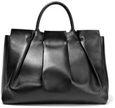 The Row Peggy Gathered Leather Tote - Black