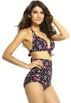 Honeystore DarlingLove Women's Flora Print High Waisted Retro Swimwear Bikini LC40689 S