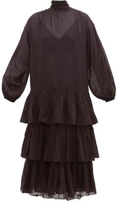 Rhode Resort Cecile Tie-neck Cotton-voile Midi Dress - Womens - Black