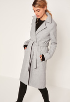 Missguided Grey Belted Tailored Faux Wool Coat