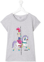 Moschino Kids - carousel print T-shirt - kids - Cotton/Spandex/Elastane/Crystal - 14 yrs