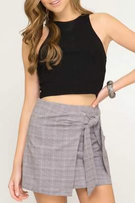 She + Sky Plaid Mock-Wrap Skirt