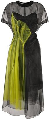 Quetsche Panelled Sheer-Panel Midi Dress