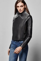 J Brand Aiah Leather Jacket w/ Detachable Fur Collar in Black