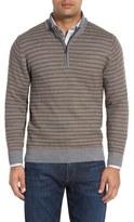 Cutter & Buck 'Douglas Range' Quarter Zip Stripe Wool Blend Sweater (Big & Tall)
