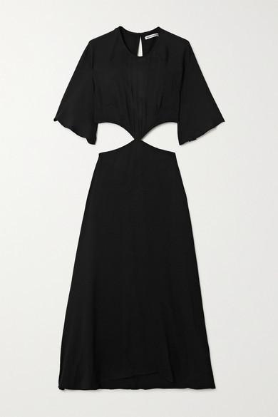 Reformation Benny Cutout Crepe Midi Dress - Black
