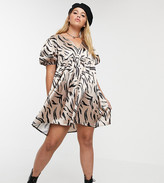 Another Reason Plus v neck smock dress in abstract zebra satin
