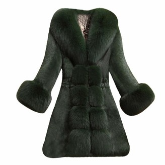 iHAZA Women Faux Fur Coat Winter Elegant Thick Warm Outerwear Jacket for Wedding Party Overcoat Black
