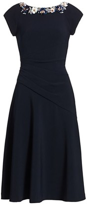Theia Crepe Boatneck A-Line Dress