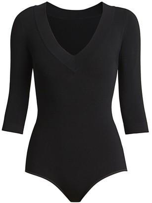 Alaia Three-Quarter V-Neck Sleeve Bodysuit