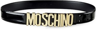 Moschino Patent Leather Logo Belt