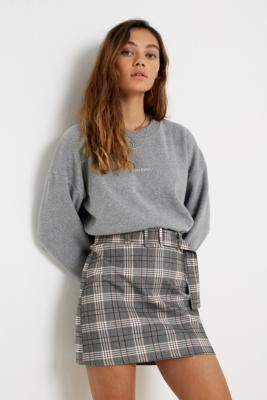 Urban Outfitters Plaid Bengaline Belted Mini Skirt - grey S at