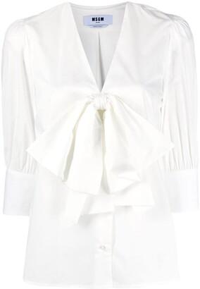 MSGM Oversized Bow Cropped Sleeve Shirt